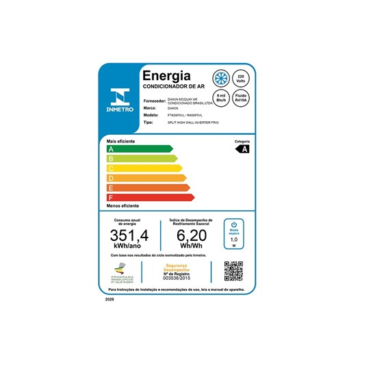 Ar condicionado Inverter Daikin Advance 9000 Btus Frio 220v